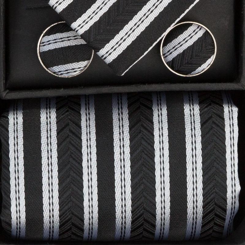 Set butoni, cravata si batista negru