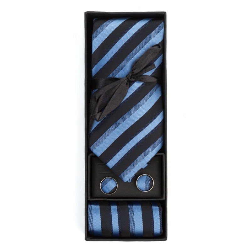 Set butoni, cravata si batista bleu