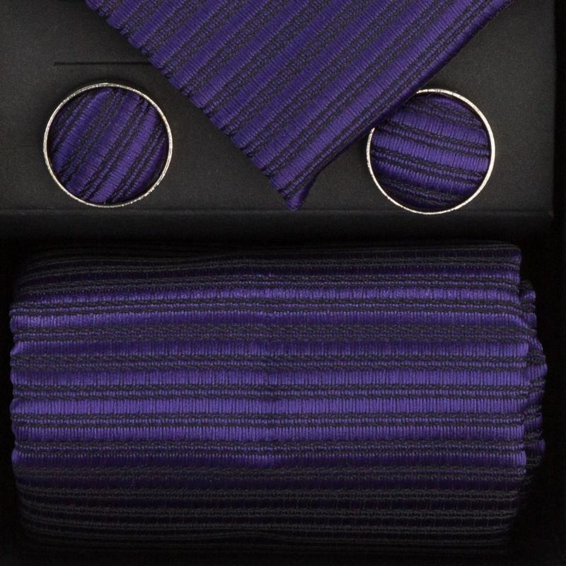 Set butoni, cravata si batista mov