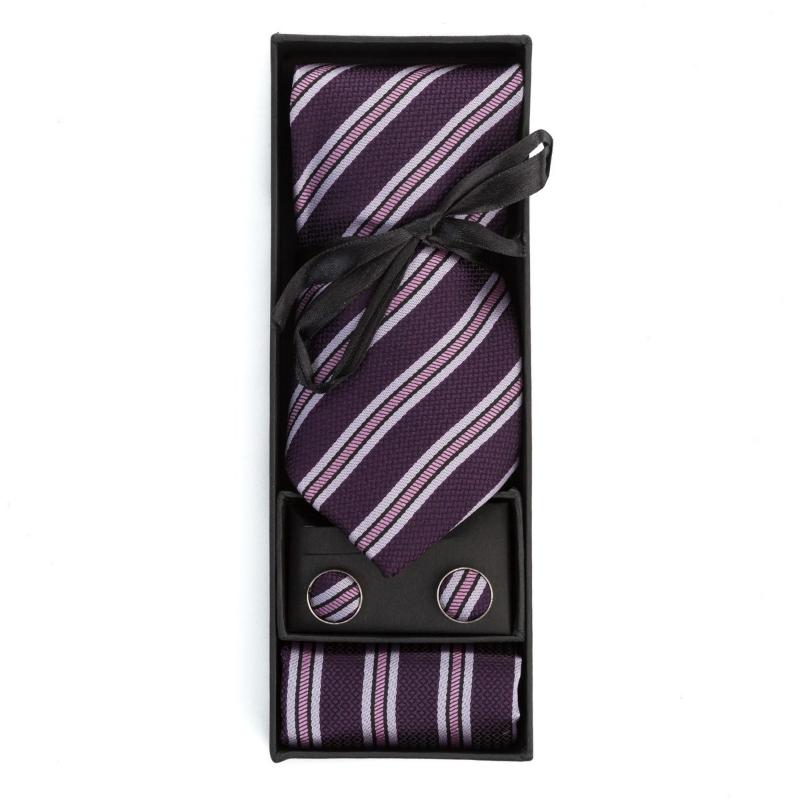 Set butoni, cravata si batista mov cu dungi