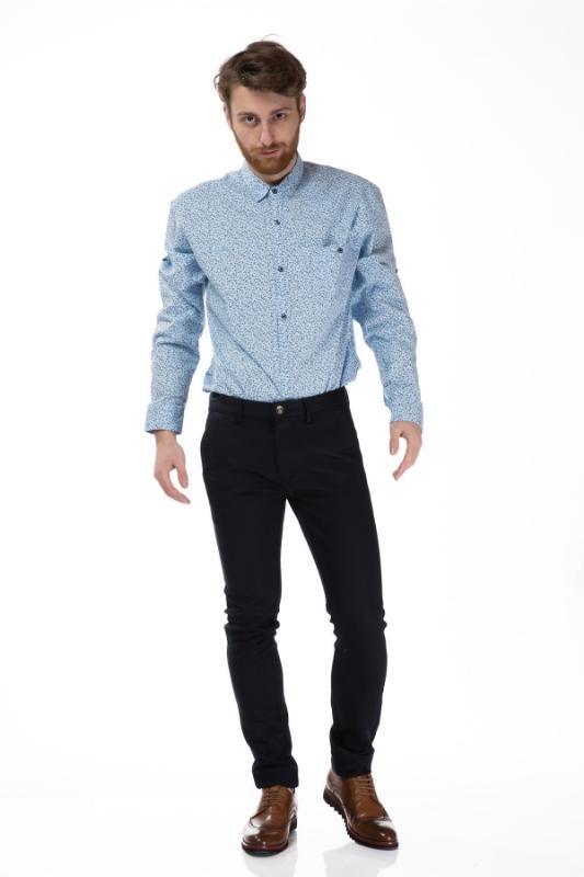 Camasa casual bleu cu crengute 8155