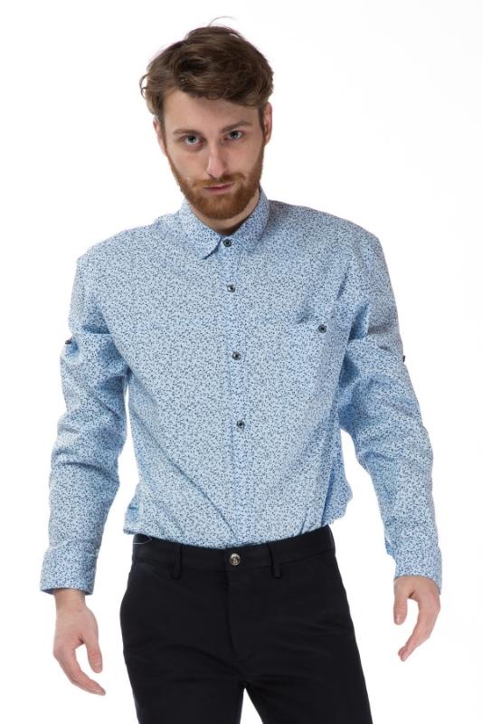 Camasa clasica barbati bleu cu crengute 8155