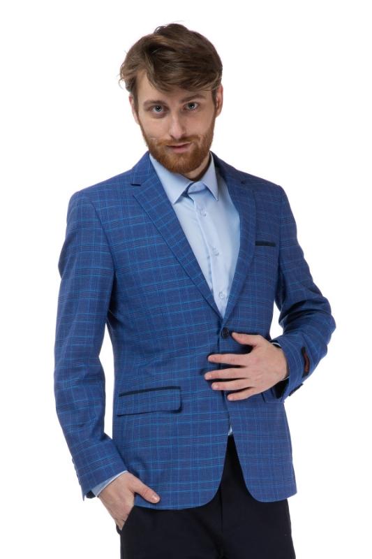 Sacou barbati albastru in carouri A18287-209