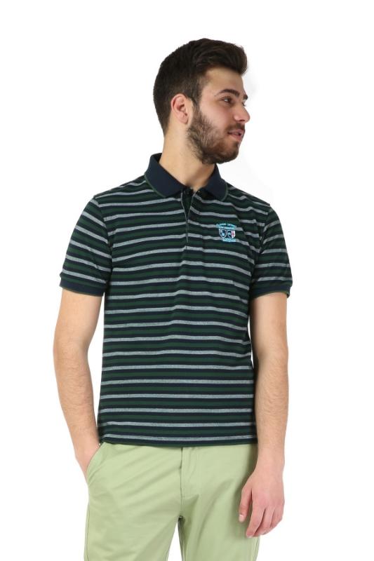 Tricou bleumarin cu dungi verzi 1049-6