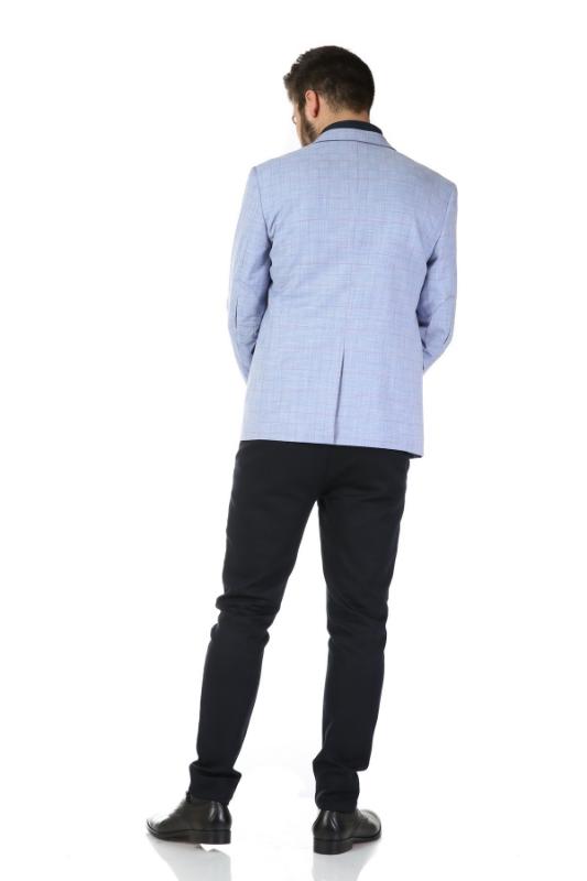Sacou bleu in carouri A698872-119