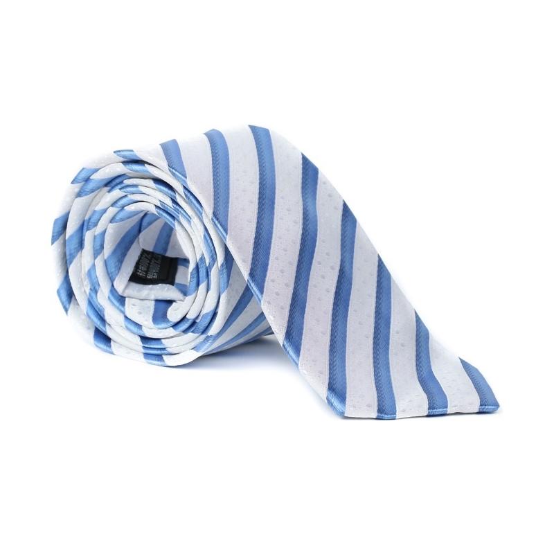 Imagine Cravata alba cu dungi albastre