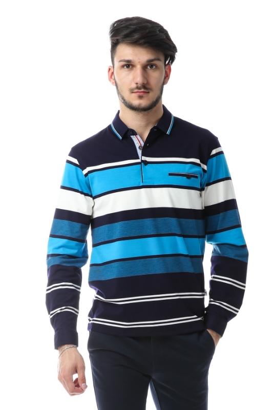 Imagine Tricou bleumarin cu dungi bleu si albe 9903-2