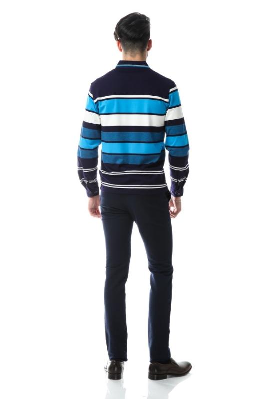 Tricou bleumarin cu dungi bleu si albe 9903-2