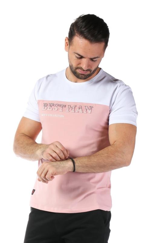 Imagine Tricou roz cu alb 1802-2