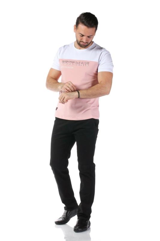 Tricou roz cu alb 1802-2