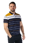Imagine Tricou bleumarin cu dungi mustar si albe 3320-1
