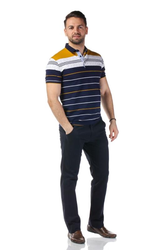 Tricou bleumarin cu dungi mustar si albe 3320-1
