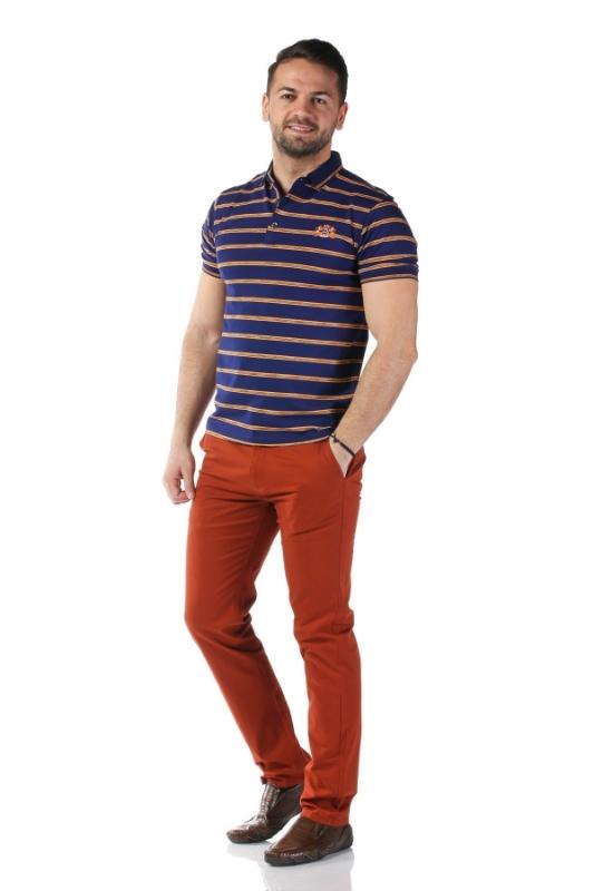 Tricou bleumarin cu dungi galbene 7815-1