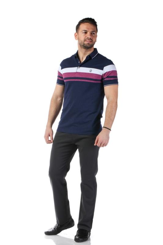 Tricou bleumarin cu dungi grena P1199505S-1