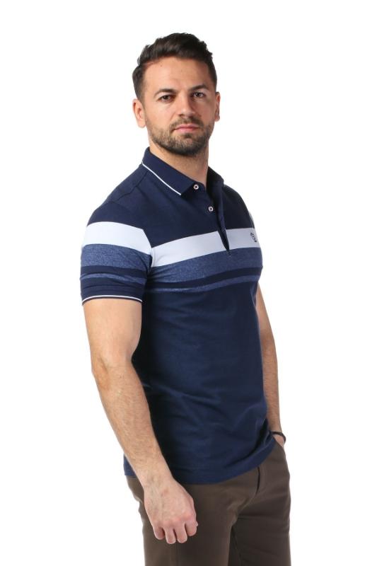 Imagine Tricou bleumarin cu dungi albe P1199505S-3