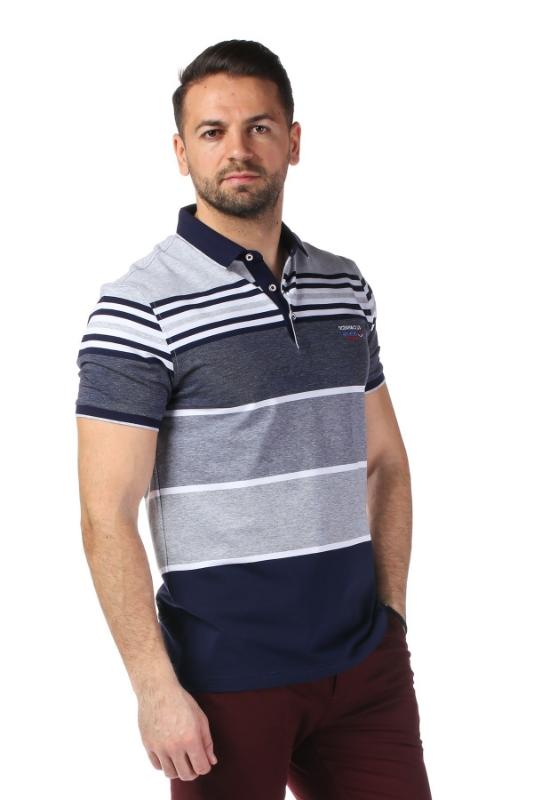 Imagine Tricou bleumarin cu dungi gri P1199511S-1