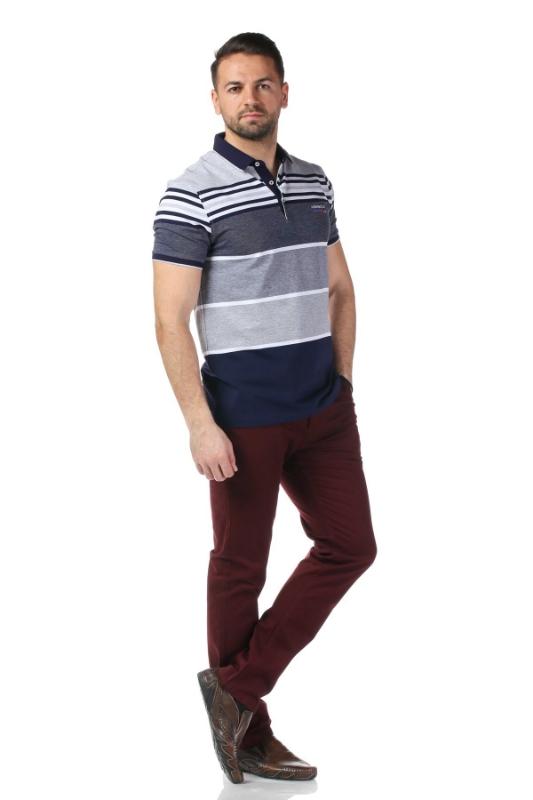 Tricou bleumarin cu dungi gri P1199511S-1