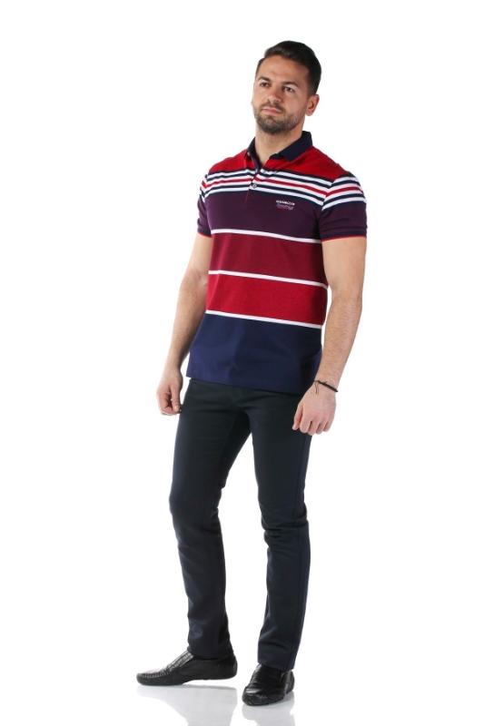 Tricou bleumarin cu dungi grena P1199511S-2