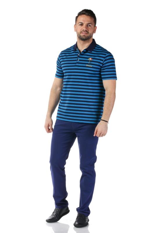 Tricou bleumarin cu dungi albastre W1192V02S-1