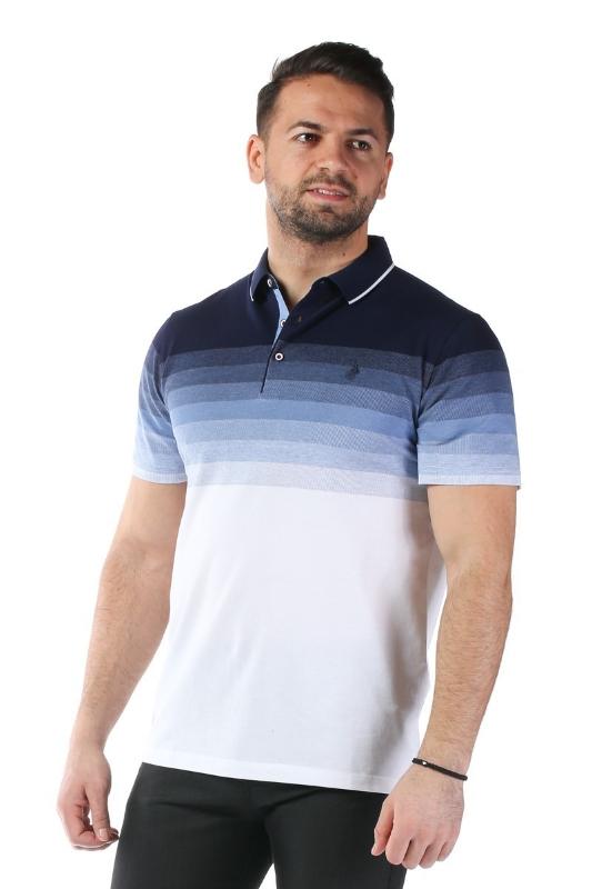 Imagine Tricou alb cu dungi bleumarin si bleu X1191908S-1