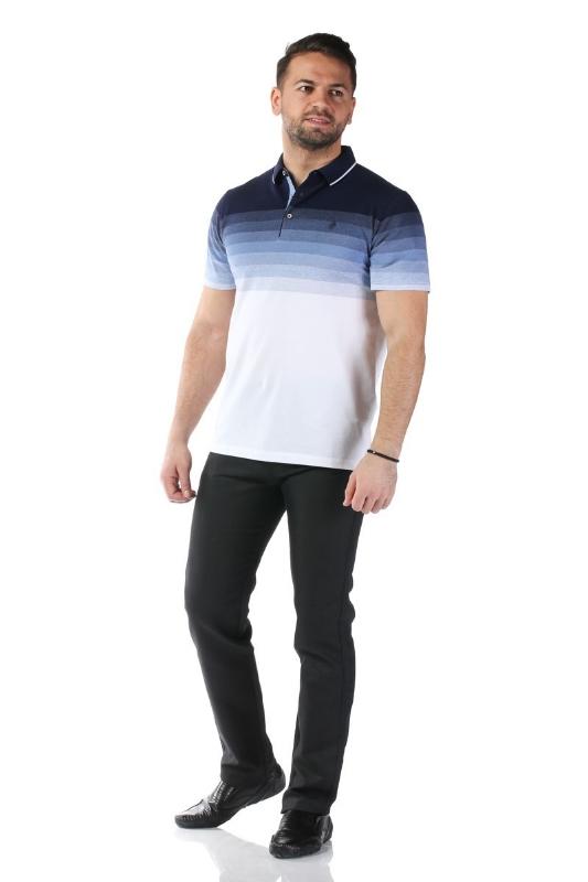 Tricou alb cu dungi bleumarin si bleu X1191908S-1