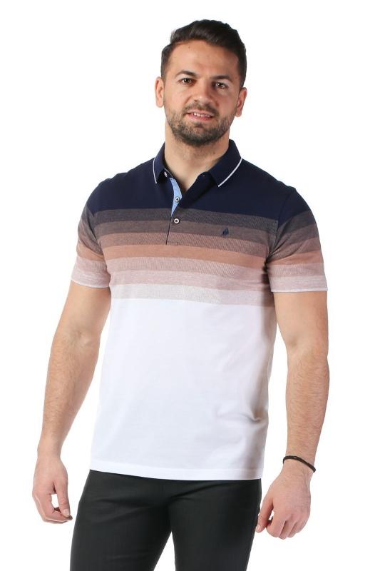 Imagine Tricou alb cu dungi bleumarin si maro X1191908S-3
