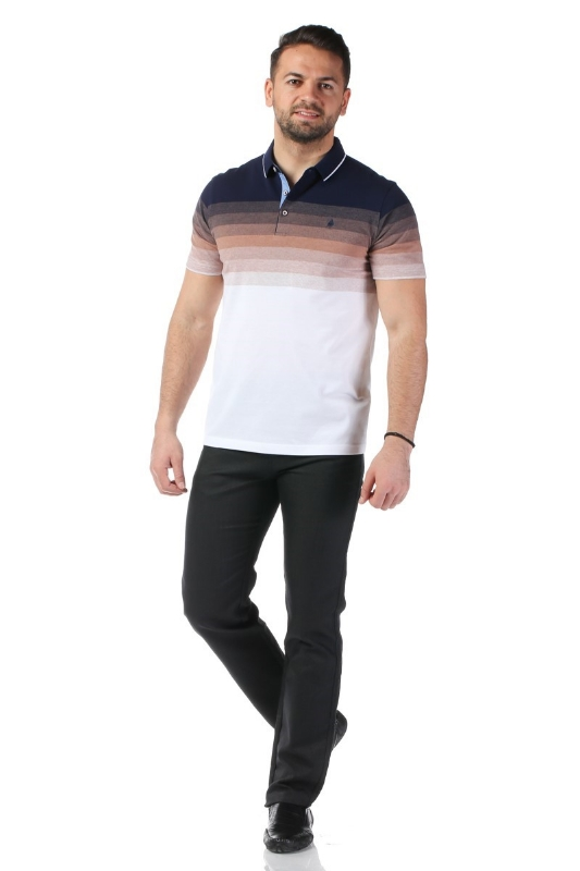 Tricou alb cu dungi bleumarin si maro X1191908S-3