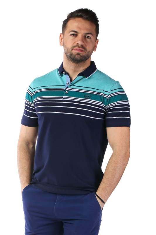 Imagine Tricou bleumarin cu dungi turcoaz X1191909S-1