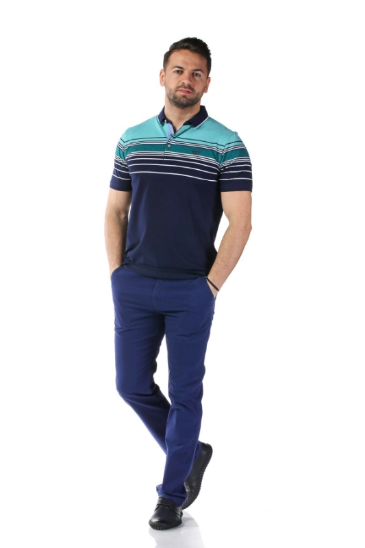 Tricou bleumarin cu dungi turcoaz X1191909S-1