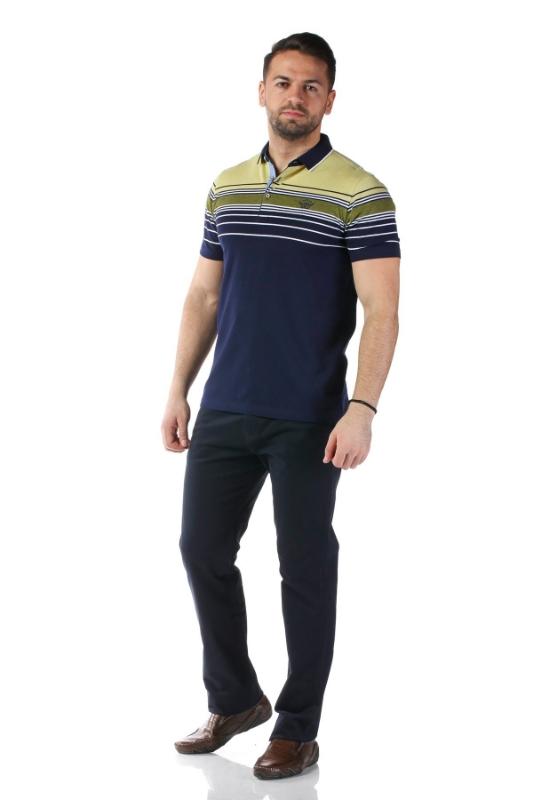 Tricou bleumarin cu dungi verzi X1191909S-2
