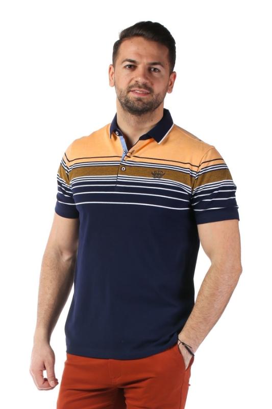 Imagine Tricou bleumarin cu dungi portocalii X1191909S-3