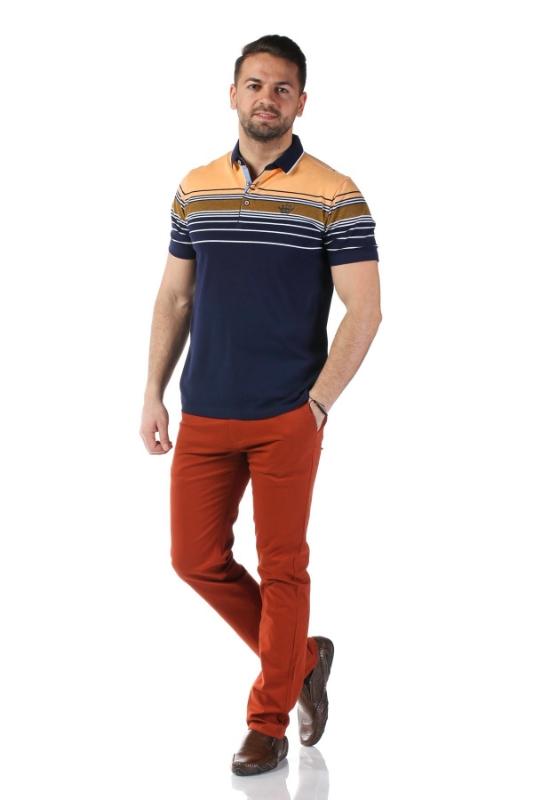 Tricou bleumarin cu dungi portocalii X1191909S-3
