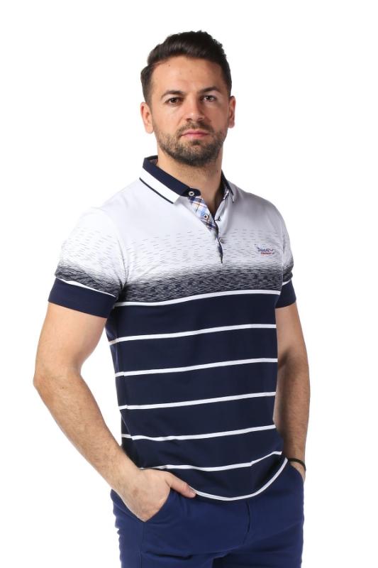 Imagine Tricou alb cu dungi bleumarin X119P953S-1