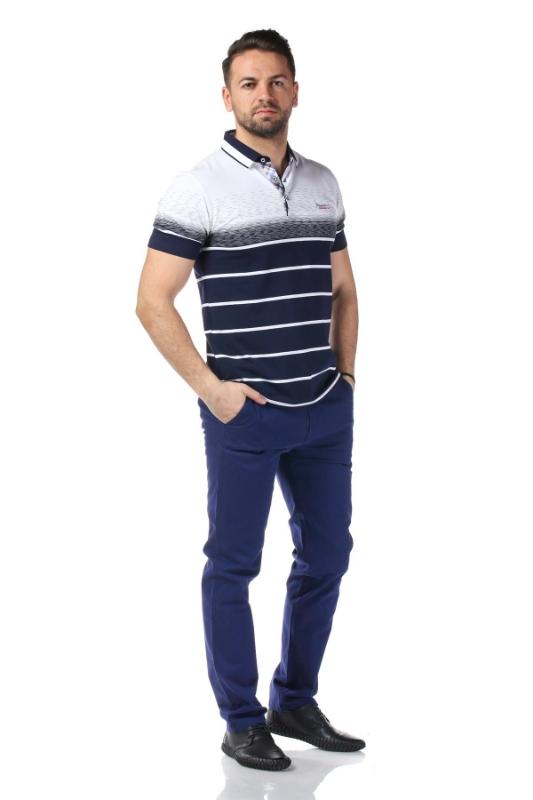 Tricou alb cu dungi bleumarin X119P953S-1