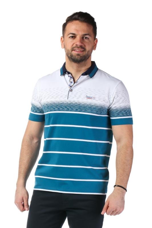 Imagine Tricou alb cu dungi turcoaz X119P953S-3