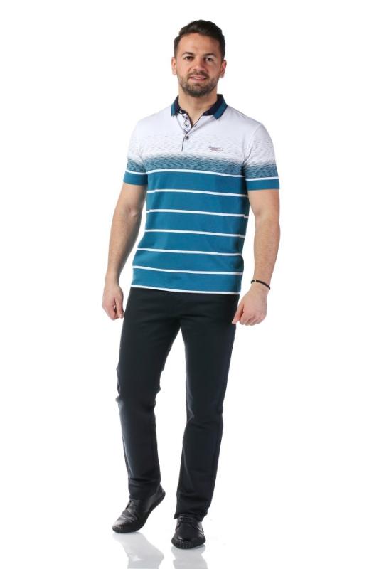 Tricou alb cu dungi turcoaz X119P953S-3