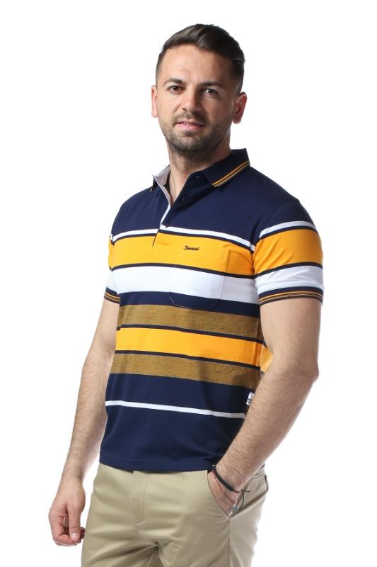 Imagine Tricou bleumarin cu dungi galbene si albe 209-1