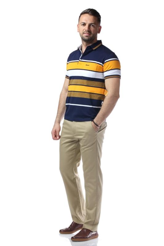 Tricou bleumarin cu dungi galbene si albe 209-1