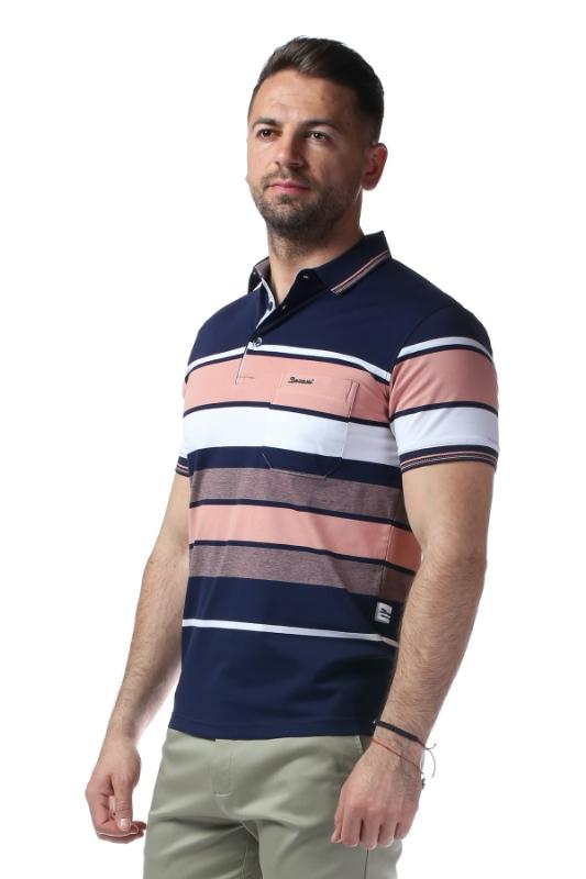 Imagine Tricou bleumarin cu dungi roz si albe 209-2