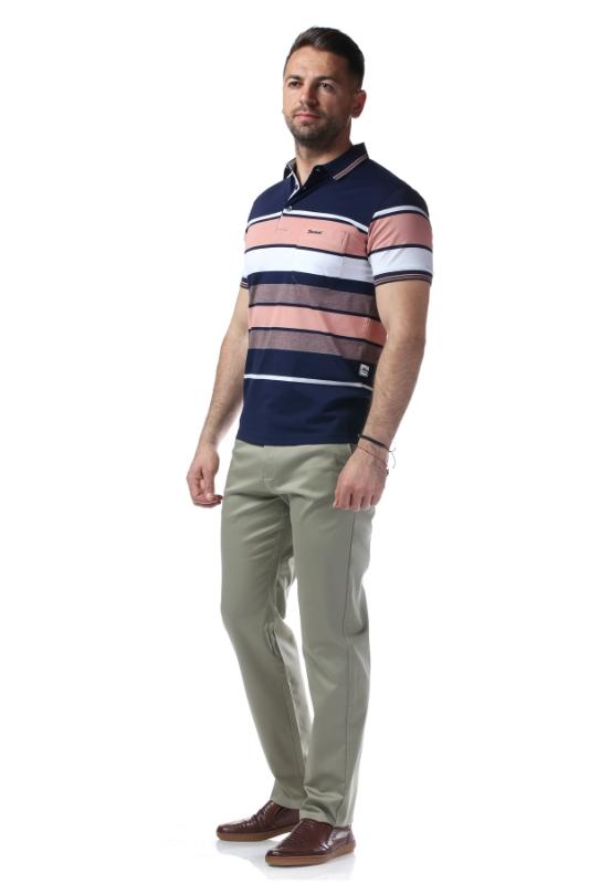 Tricou bleumarin cu dungi roz si albe 209-2