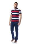 Imagine Tricou bleumarin cu dungi albe si rosii 7764-1