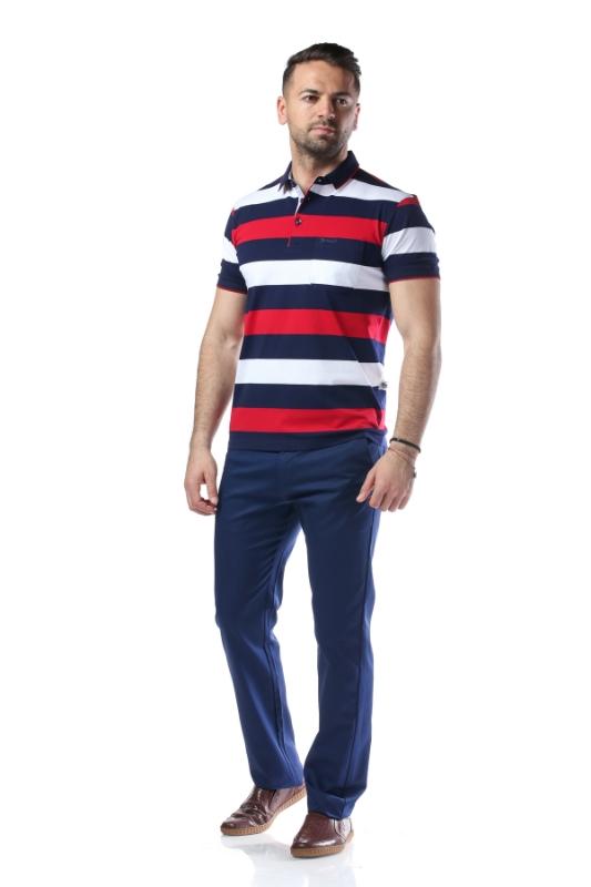 Tricou bleumarin cu dungi albe si rosii 7764-1