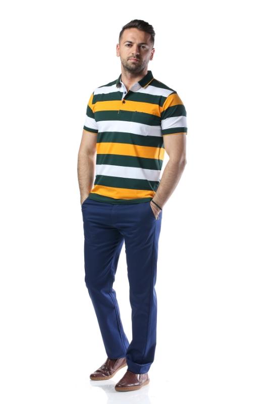 Tricou verde cu dungi albe si galbene 7764-2