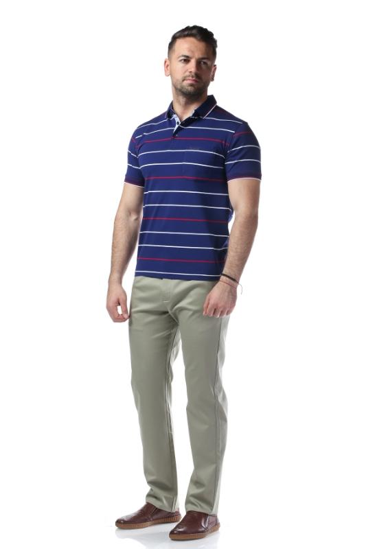 Tricou bleumarin cu dungi rosii 7769-1