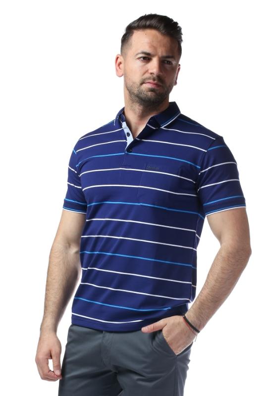 Imagine Tricou bleumarin cu dungi albastre 7769-2