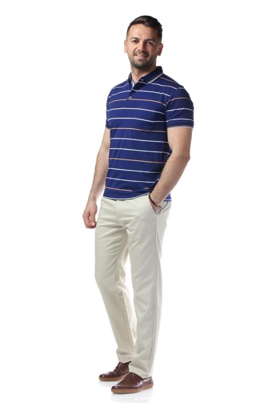 Tricou bleumarin cu dungi maro 7769-3