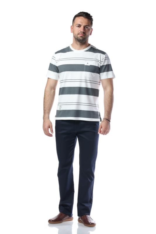 Tricou crem cu dungi kaki 2010-0-3