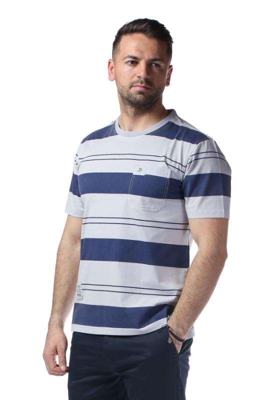 Imagine Tricou gri cu dungi bleumarin 2010-0-8