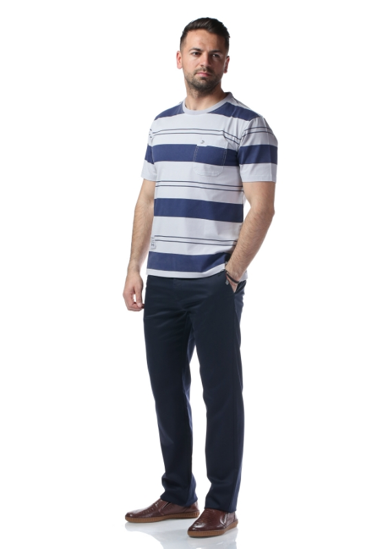 Tricou gri cu dungi bleumarin 2010-0-8