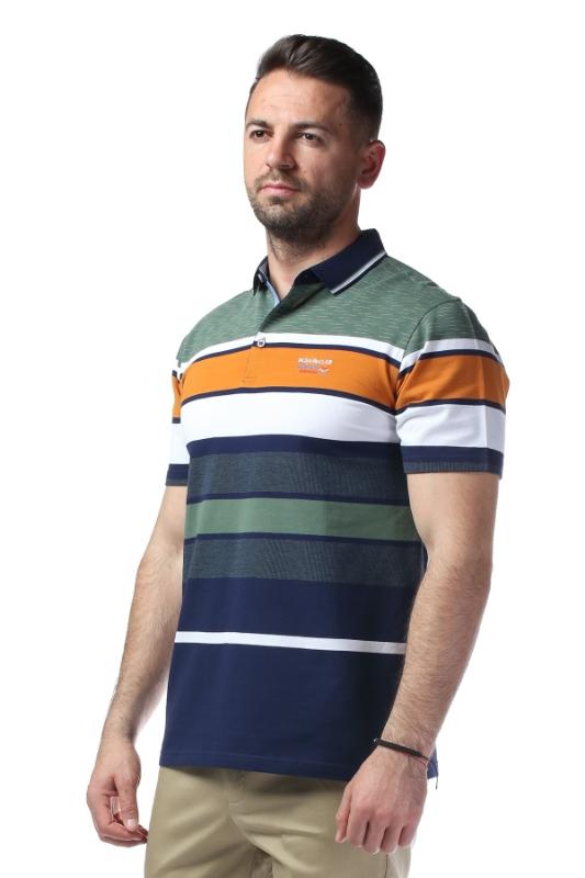 Imagine Tricou verde cu dungi albe si bleumarin X1191932S-1